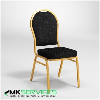 Konferencijų/restoranų kėdė: auksas/juoda