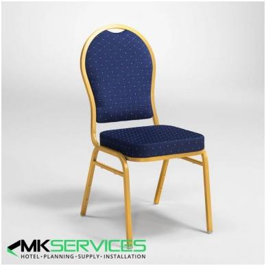Konferencijų/restoranų kėdė: auksas/mėlyna