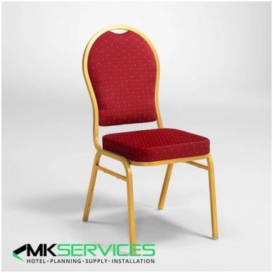 Konferencijų/restoranų kėdė: auksas/raudona