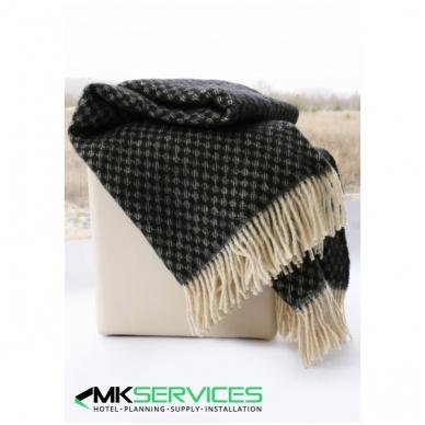 Wool plaid 140x200cm BLACK